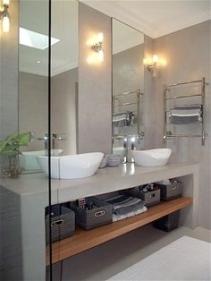 Contemporary bathroom remodel with double vessel vanity, tall mirrors and wall sconces Best Bathroom Vanities, Bathroom Sconces, Small Bathroom, Wall Sconces, Skylight In Bathroom, Bathroom Double Vanity, Bathroom Wall, Bathroom Design Luxury, Modern Bathroom Design