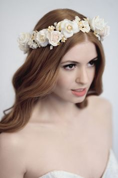 A beautifully crafted, delicate floral crown by Yelena Accessories Bride Hair Flowers, Wedding Flowers, Wedding Dresses, Floral Headpiece, Headpiece Wedding, British Wedding, Wedding Book, Wedding Ideas, Silk Roses