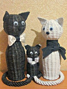Кот, котенк из газетных трубочек