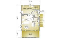 Cabin Style House Plan - 1 Beds 2.00 Baths 863 Sq/Ft Plan #910-3 Floor Plan - Main Floor Plan - Houseplans.com