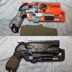Arma Steampunk, Steampunk Weapons, Armadura Ninja, Modified Nerf Guns, Mad Max, Fallout Props, Cool Nerf Guns, Armadura Cosplay, Nerf Birthday Party