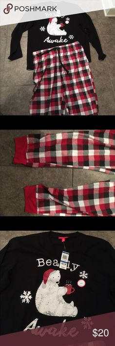 Men's holiday pajamas polar bear and buffalo plaid Cute! Shirt is new and pants were worn once. Happy to answer questions. Thanks for shopping! Macy's Pants Sweatpants & Joggers