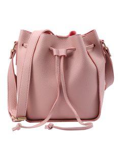 Embossed Faux Leather Drawstring Bucket Bag - Pink -SheIn(Sheinside)