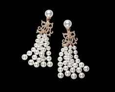 Fine Jewelry Collection - Ralph Lauren Watch And Jewelry Co.: Akoya pearl earrings with 18K rose gold full-pavé diamond monogram