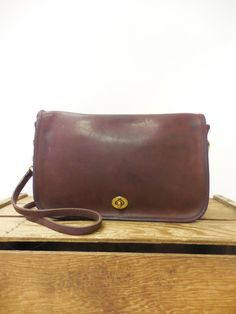 Coach Vintage Burgundy Leather Classic Cashin Era Flap Bag Satchel Purse - Made in NYC