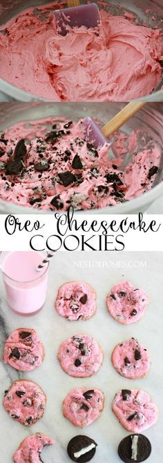 The most amazing and moist pink Oreo Cheesecake Cookies. Made with only 6 ingredients and perfect for Valentine's. These Oreo Cheesecake Cookies are yummy Köstliche Desserts, Delicious Desserts, Dessert Recipes, Yummy Food, Pink Desserts Easy, Pink Snacks, Pink Treats, Apple Desserts, Health Desserts
