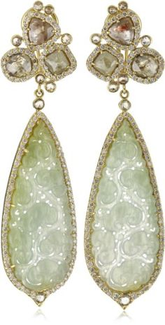 JY: Gold Green Jade and Diamond Drop Earrings