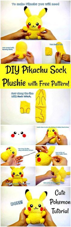 DIY Pikachu Sock Plushie with Free Pattern! DIY Pokemon Tutorial