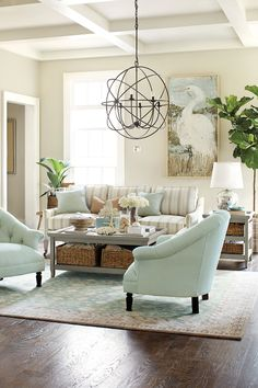 Decorating with stripes indoors  love the ceiling, pelican painting, and the room palette