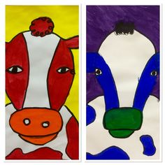 4th Grade Warm and Cool Cows-http://2soulsisters.blogspot.com/2016/04/warm-moo-and-cool-moo.html