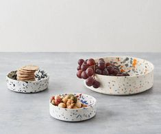 Handmade Porcelain Terrazzo Bowls - Small Bowls in Black Bubbly & Blue/red with Medium Bowl in Grey/Orange Ceramic Tableware, Porcelain Ceramics, Ceramic Art, Fine Porcelain, Porcelain Jewelry, Kitchenware, Terrazzo, Decorative Bowls, Decorative Objects