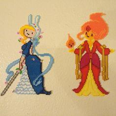Fiona and Princess Flame - Adventure Time hama mini beads by b.dawg.skip