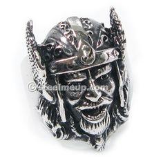 Stainless Steel Ancient Army Helmet General Men Biker Ring