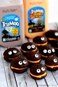 Halloween Recipes: Mini Monster Chocolate Whoopie Pies with Orange Cream Filling   Melanie Makes
