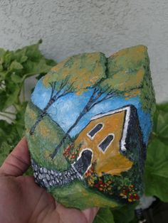 Yellow House Stone Crafts, Rock Crafts, Arts And Crafts, Stone Painting, House Painting, Rock Painting, Hand Painted Rocks, Painted Stones, House On The Rock
