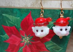 Elf Christmas Red White Handmade Lampwork Glass by TheBeadShack