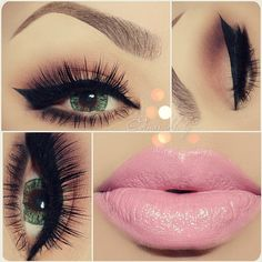 Gorgeous makeup. Full eyelashes and soft pink lipglossperfect for a date night