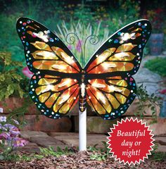 Solar Butterfly Garden Light Stake | Butterfly Decorations | Pinterest |  Gardens And Garden Art
