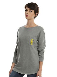 """If you can't beat your enemies, blind them temporarily with a bright white light. Heather grey pullover sweatshirt from Fantastic Beasts And Where To Find Them with a left chest pocket featuring Newt Scamander's monogram and """"Lumos Maxima"""" text design on back. 60% cotton; 40% polyester Wash cold; dry low Imported Listed in junior sizes"""