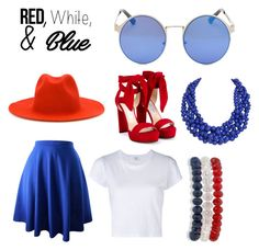 """Happy 4th of July"" by rachel-gaynor ❤ liked on Polyvore featuring RE/DONE, Études, Jimmy Choo, Kim Rogers, Humble Chic, redwhiteandblue and 4thjuly"