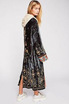 Bali Interstellar Jacket - Gray Velvet Duster Jacket with Embroidery - Fall Jackets - Free People Jackets Tribal Fashion, Kimono Fashion, Unique Fashion, Boho Fashion, Winter Fashion, Affordable Fashion, Street Fashion, Fashion Ideas, Free People Kimono