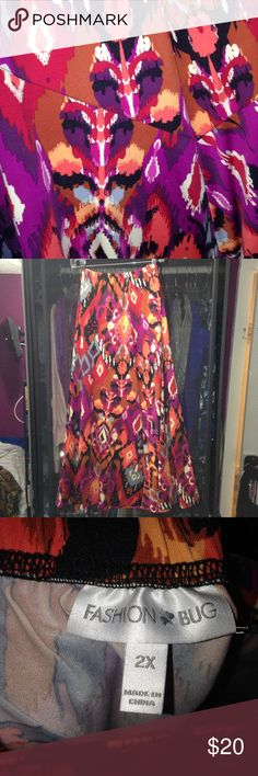 FASHION BUG Printed Skirt Ankle length skirt with many different colors. Like new condition Fashion Bug Skirts A-Line or Full