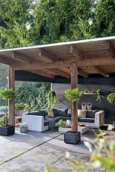 44 incredible backyard storage shed design and decor ideas 10 Backyard Patio Designs, Diy Patio, Backyard Landscaping, Patio Ideas, Landscaping Ideas, Backyard Retreat, Porch Ideas, Outdoor Pergola, Outdoor Rooms