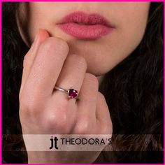 Handmade solitaire ring with sterling silver 925o and fuchsia round cubic zircon.Show your love with this modern but timeless solitaire ring!------------------------------------------------------Χειροποίητο μονόπετρο δαχτυλίδι καρδιά από επιπλατινωμένο ασήμι 925ο με λουστρέ φινίρισμα και φούξια ζιργκόν 6mm. Δείξτε την αγάπη σας με ένα υπέροχο μονόπετρο δαχτυλίδι, μοντέρνο αλλά ταυτόχρονα διαχρονικό!