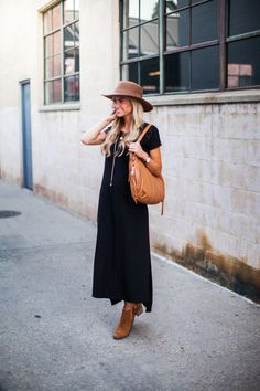 Long black dress + booties + hat  Perfect way to style your LuLaRoe Carly into fall
