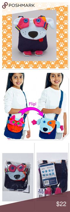 "Dog & Cat Crossover Flippakz Bag This fun convertible bag goes from one animal to another in a flash, while the adjustable strap adds carrying convenience, 7.5"" W x 8"" L, strap 1"" W x 50"" L, 100% Polyester Boutique Accessories Bags"