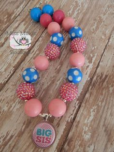 Big Sis Girls Chunky Gumball Necklace by MissMillysBoutique, $16.50