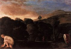Attributed to Adam Elsheimer (1578–1610), Nymph Fleeing Satyrs (1605), oil on copper, Height: 14 x 20 cm