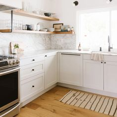 A DIY Scandi-inspired Home in Orange County – Semihandmade White Shaker Kitchen, Shaker Kitchen Cabinets, Ikea Cabinets, White Cabinets, Terrazzo, Scandi Home, Shaker Doors, Updated Kitchen, Kitchen Updates