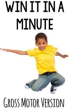 Win it in a minute gross motor veraion. Fun 1 minute activities that get bodies moving!Very fun gross motor activity Physical Therapy Exercises, Pediatric Physical Therapy, Pediatric Ot, Physical Education, Physical Development, Fine Motor Activities For Kids, Sensory Activities, Therapy Activities, Preschool Movement Activities
