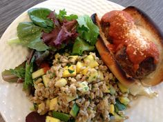 Meatball sub with zucchini rice pilaf and salad
