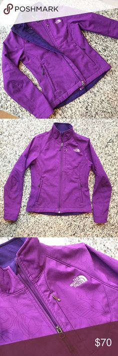 North face Apex Bionic soft shell. Rare color! Adorable purple with floral/leaf pattern. Fleece lined, 2 zip pockets at the hip and one zip breast pocket. Amazing jacket. Rare color and pattern! North Face Jackets & Coats