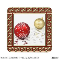 Celtic Red and Gold Set of 6 Coasters
