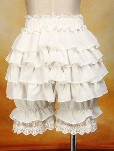Summer Chiffon Ruffles Cute Lace Women Costume Pumpkin Shorts Lolita Bloomers