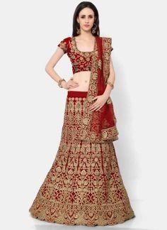 Red Embroidery Thread Work Net Velvet Designer Wedding Lehenga Choli http://www.angelnx.com/Lehenga-Choli/Wedding-Lehenga-Choli