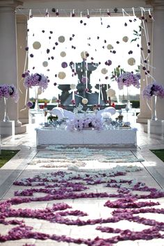 Persian wedding sofreh. Hanging decor. Kissing balls. Orchids. By White Lilac, Inc. St. Regis Monarch Beach. Photo by Samuel Lippke.