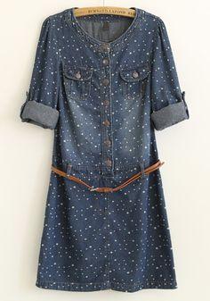 Blue Polka Dot Puff Sleeve Tunic Denim Dress