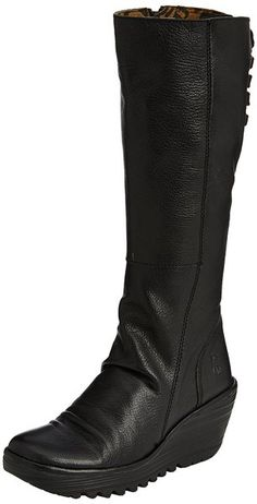 d902a6cca62f Womens Fly London Yust Casual Winter Wedge Heel Leather Knee High Boots -  Black - 8     Click image for more details.