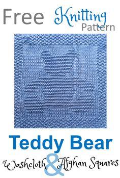 Free teddy bear knitting pattern washcloth dishcloth afghan square Free knitting pattern for teddy bear knitted square - use as a washcloth, dishcloth or afghan square. Lots of other free knitting pattern available. Knitted Squares Pattern, Knitted Dishcloth Patterns Free, Knitting Squares, Free Baby Blanket Patterns, Knitted Washcloths, Knit Dishcloth, Knitted Baby Blankets, Baby Knitting Patterns, Free Knitting