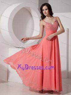 Simple Watermelon Red Beading Prom Cocktail Dress with Straps in Chiffon