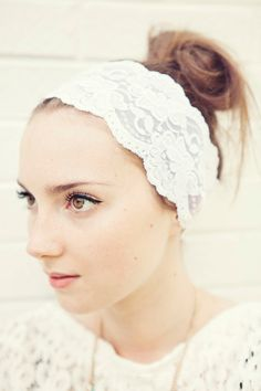 White and Wide Stretch Lace Headband by BglorifiedBoutique on Etsy, $18.00