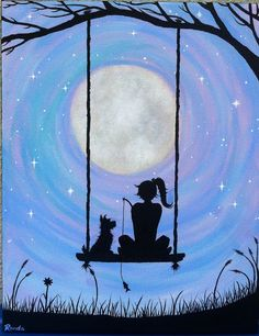 A girl and her Dog sitting on a swing under the by FreehandMagic, $40.00