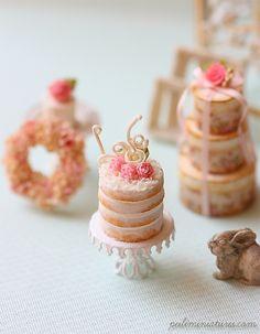 Dollhouse Miniatures, Miniature Food Jewelry, Craft Classes: Dollhouse Miniature Food - Love Naked Cake