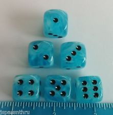 DICE - 16mm KOPLOW DELUXE ICE BLUE SWIRL w/BLACK PIPS - BAM! BLUE TO THE MOON!