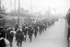 Landing of colonial troops in the harbor of Boulogne-sur-Mer, France, on June 13, 1917. Known as the Black Force by General Charles Mangin, French inspector general of colonial troops, these men were relied on by the French army in all the major battles of the war. (British Library) #