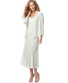 R&M Richards Sleeveless Beaded V-Neck Dress and Jacket - Dresses - Women - Macy's.Mother of the bride dress mom likes Mother Of The Bride Fashion, Mother Of Bride Outfits, Mother Of Groom Dresses, Mothers Dresses, Mob Dresses, Petite Dresses, Bride Dresses, Dresses 2014, Wedding Dresses
